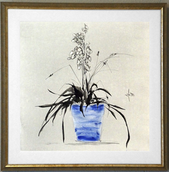 Orchid in Blue Vase