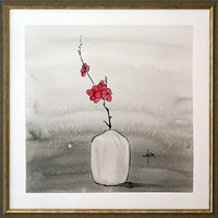 Red Floral in White Vase